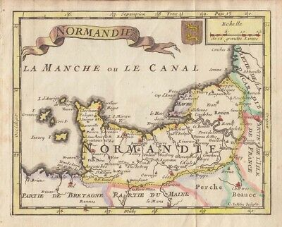 1705 Nice La Croix Map of Normandy,  France