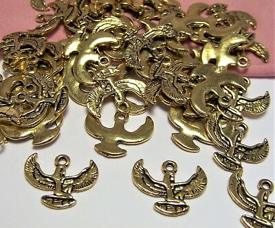 Lot Of 50 Gold Ancient Egyptian Charms-Isis-Ma'at-Winged Goddess-Unique-Jewelry