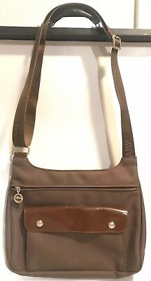 5cc6d7df9772 LONGCHAMP Planetes Brown Army Green Crossbody Messenger Bag Made in France
