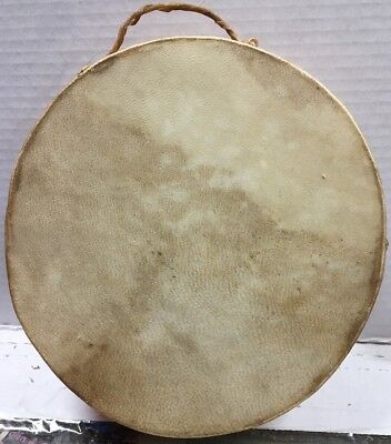 Antique VTG  Native American Indian Rawhide Ceremonial Dance Drum Skin W Fur