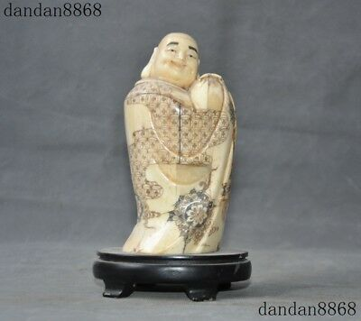 """8""""Unique Chinese Old Cattle Bone Carved happy Laughter Maitreya Buddha statue"""
