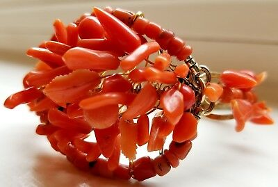 STUNNING Antique Victorian Carved CORAL Bracelet - Leaves, Flowers, & Branches