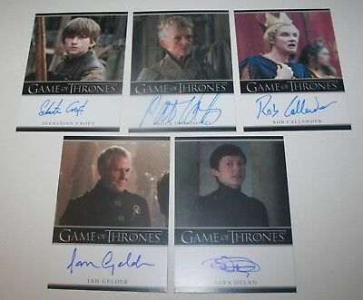 Game of Thrones Season 7 Bordered  Auto lot of 5 Kevan Lannister Young Ned +