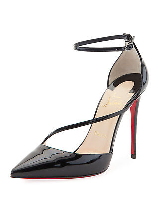 a63e3679c7f0 Christian Louboutin Fliketta Patent 100mm Red Sole Ankle-Wrap Pumps 35 Shoes