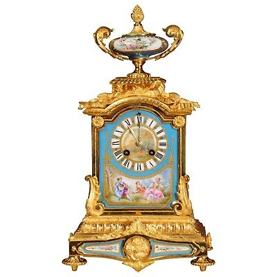 Ormolu and Sèvres Porcelain Antique French Mantel Clock by Japy Freres - L@@k!
