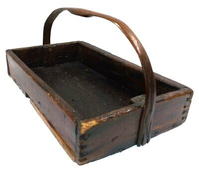 Primitive Antique Handmade Pennsylvania Wooden Berry Tray Box Carved Wood Handle