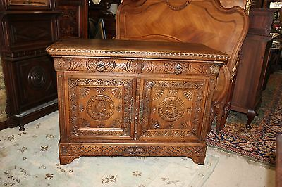Antique Walnut Brittany Sideboard Small Cabinet with Carvings 2 Doors & Drawers