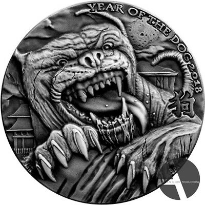 Silver coin Lunar Dog OMINOUS Chad 2018 Hound of Baskervilles 5000 Francs 1 oz
