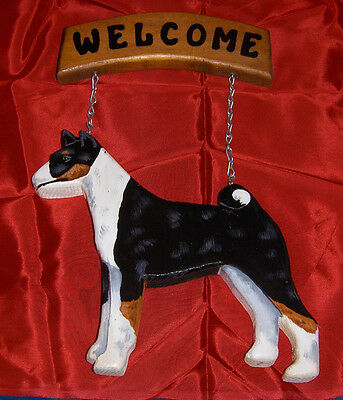 BASENJI carved WELCOME SIGN Tri-Color Wood, 1992.  Unsigned.