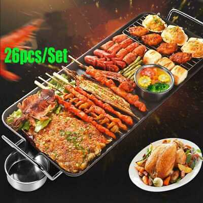 Electric Desktop Grill Griddle Large 1400W BBQ Barbecue Table Top Hot Plate Pan