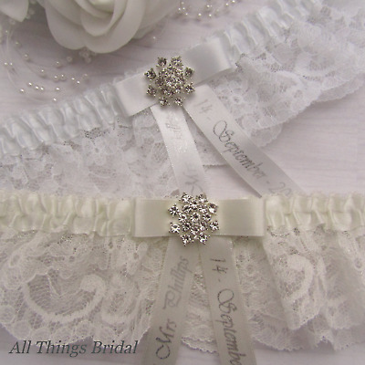 Personalised Bridal Garter. White or Ivory with Diamante jewel, Silver print.