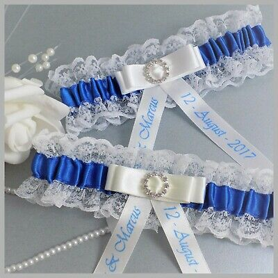 Personalised Bridal Garter. Ivory or White lace, royal blue & diamante buckle