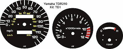 Yamaha Tdr 250 Tdr250 Speedo Tacho Rev Counter Temp Gauge 3-Piece Overlay Kit
