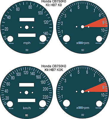 Honda Cb750 K0 K1 K2 K3 F1 F2 Four Speedo Tach Rev Counter Gauge Dial Overlays