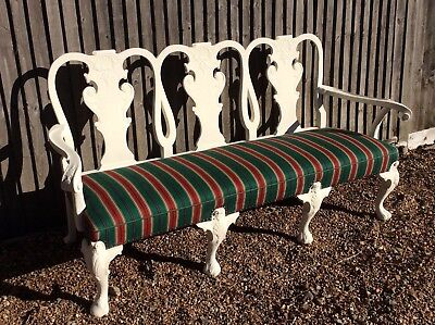 Oak Framed  Painted / Shabby Chic Antique Early Georgian Style Seat Vgc