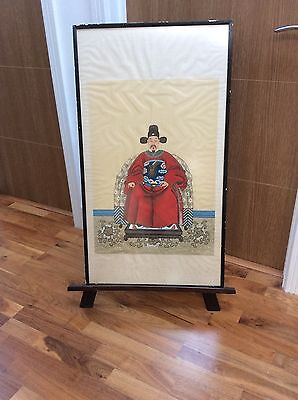 """Chinese """"ancestor""""  full length portait of a Ming Emperor (?) on silk and f/g"""