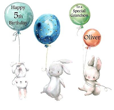 PERSONALISED Birthday Card BUNNY RABBITS WITH BALLOONS Any Age, Son Brother etc