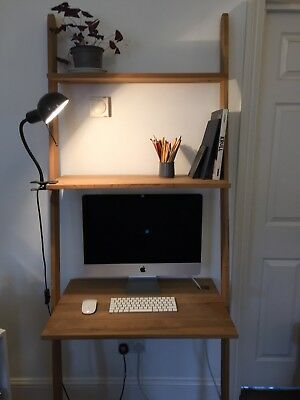 Futon Company Solid Oak Lean To Desk With Shelves
