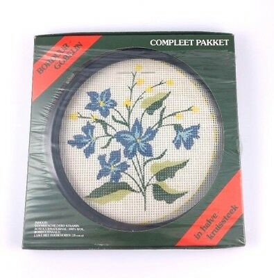 Gobelin Floral Needlepoint Kit Blue Flowers with Black Round Frame New in Box