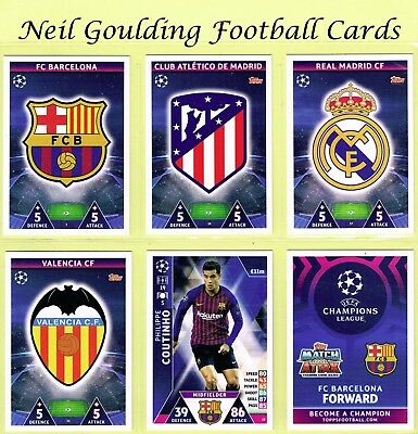 CHAMPIONS LEAGUE MATCH ATTAX 2018/2019 ☆ Football Base Cards ☆ #1 to #72