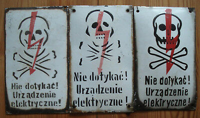 Original  3 Skull Vintage Antique Enamel Porcelain  Danger Sign