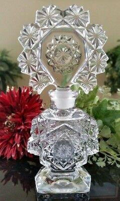 """Vintage Fancy 6-5/8"""" Tall Pressed Cut Glass Perfume Bottle & Stopper, EXCELLENT!"""