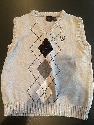 Gray Izod Boys argyle Medium (10-12) Cotton Vest