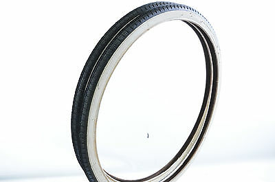 "PAIR 24 x1 3/8"" (37-540) VINTAGE JUNIOR RACING BIKE TYRES  WHITEWALL CENTRE LINE"