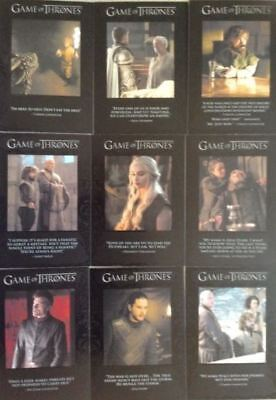 Game Of Thrones Season 7 Quotable 9 Card Set