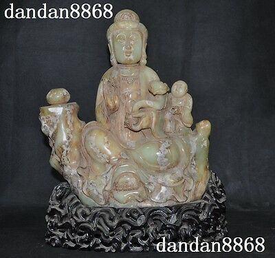 Chinese Old jade stone Hand Carved Buddhism Sit Songzi Kwan-Yin Ruyi Boys Statue