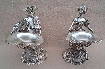 Antique Victorian Continental French Silver Plated Figural Novelty Salts Rococo