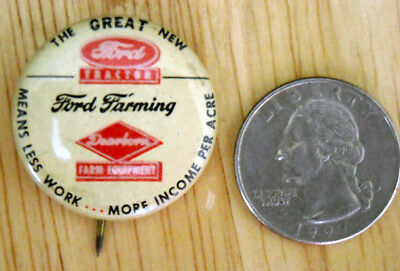 Vintage FORD TRACTOR pin back button adv Ford & Deerborn Farm Equipment, 1930-40