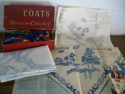 Vintage 1950's Linen Hand Embroidery Willow Pattern Tablecloth + Box of Threads