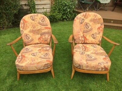 Pair Of Vintage Retro Ercol Blonde Windsor Easy Chairs, Design No 203, & Covers