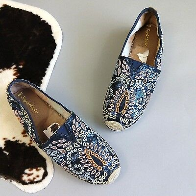 ea56b5f3f4 Joy   Mario Espadrilles Sequin Size 10W Navy Blue Embroidered Embellished  Shoes