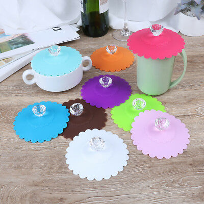 1pc Silicone Anti-dust Glass Diamond Cup lid Cover Coffee Mug Suction Lid BRZY