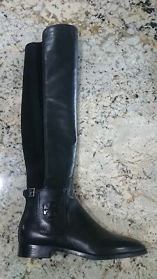 7734328dadc  578 TORY BURCH Wyatt Stretch Leather OTK Over The Knee Boot Black Boots 9
