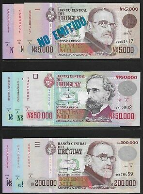 Uruguay 1989 1,000-500,000 New Pesos P-67A-73- Set of 9 Notes CU