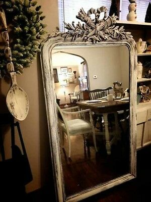 """Large Full Length Mirror Distressed White 64"""" x 36"""""""