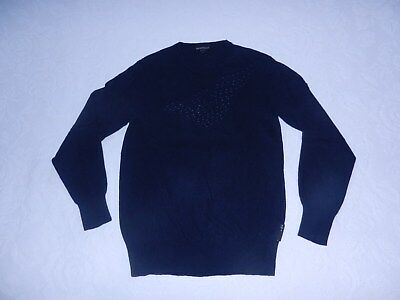 58f971c2328 EMPORIO ARMANI UNISEX navy front embroidered logo pullover sweater ...