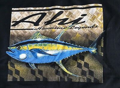 Vintage Men's Black Hawaiian Legends Ahi Tuna Sport Game Fish Fishing T-Shirt XL