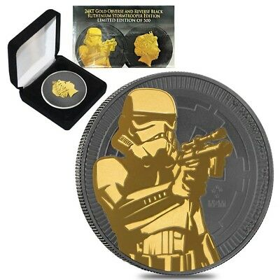 2018 1 oz Niue Silver $2 Star Wars Stormtrooper Black Ruthenium 24K Gold Edition
