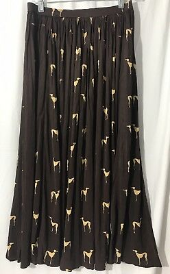 Vintage Greyhound Graphic Art Skirt Size Small Brown Long