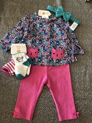 NWT Gymboree baby girl 5-piece pink teal floral kitty WINTER cat bow SET 3 6