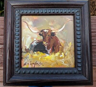 Original Oil Painting Lazy Longhorn Cow signed by Artist FRAMED!