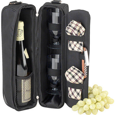 Picnic at Ascot Deluxe Insulated Wine Tote with 2 Wine Outdoor Accessorie NEW