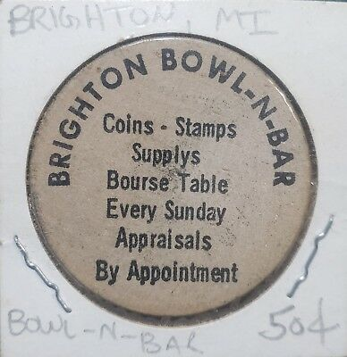 Vintage WOODEN NICKLE Brighton Michigan BOWLING ALLEY and BAR near Howell