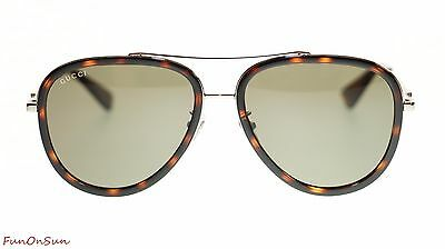 ba731d737c2 Gucci Women Aviator Sunglasses GG0062S 002 Ruthenium Green Lens 57mm  Authentic
