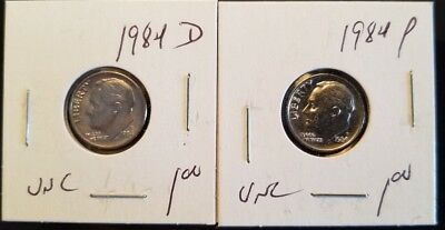 Set of 2 x 1984 Roosevelt US Dime D & P in UNCIRCULATED (UNC) Condition