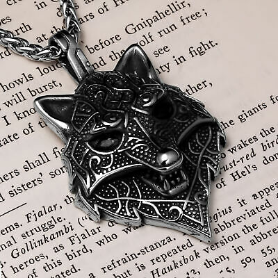 Viking Fenrir Wolf Stainless Steel Pendant Necklace
